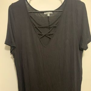 Black cris cross T-shirt